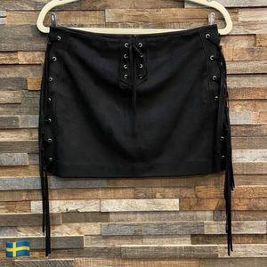 Zara Black Faux Suede Mini Skirt Tie Fringe